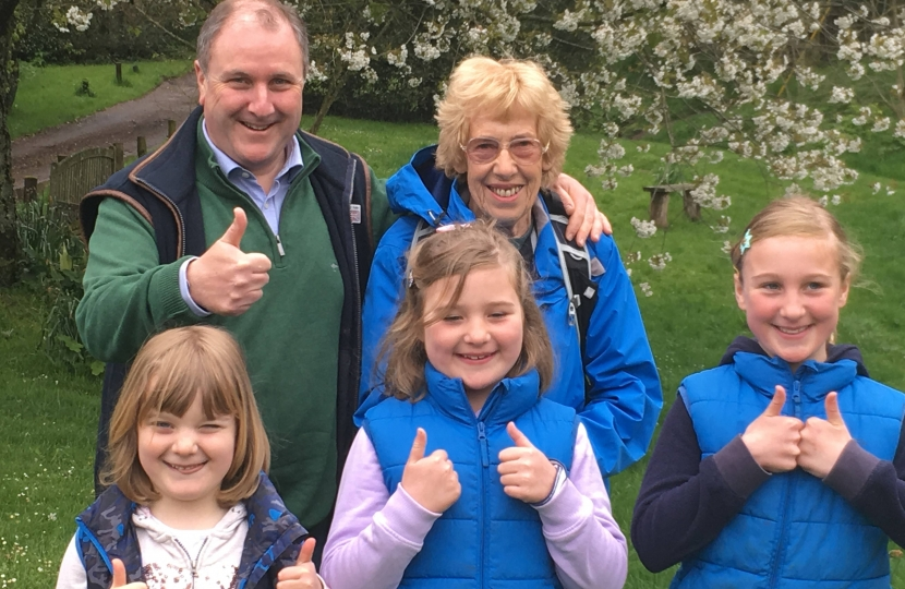 Simon Hoare MP with his daughters and Margaret Marande on The Hardy Way walk raising funds for Shaftesbury Westminster Memorial Hospital League of Friends and Pancreatic Cancer Research